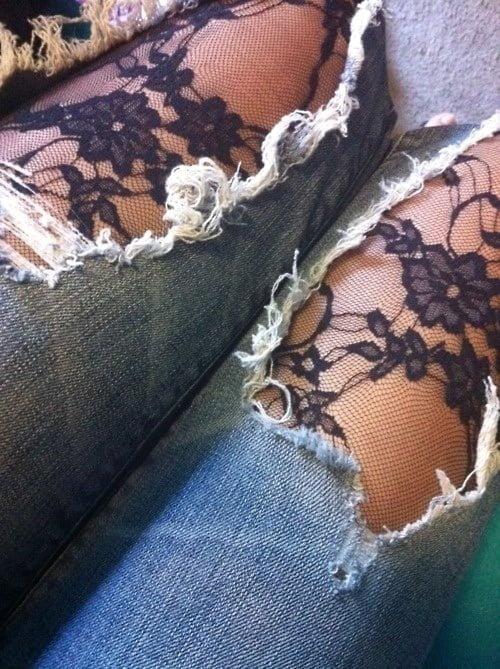 Dantelli Yırtık Kot Pantolon Modelleri